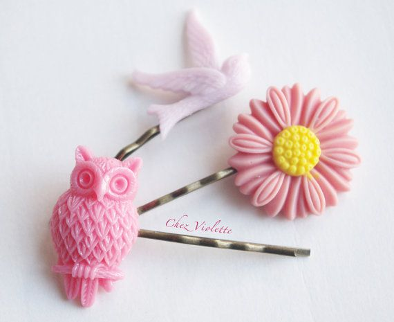 3 Hair Pins Bobby PinsOwl flower sparrow set by chezviolette