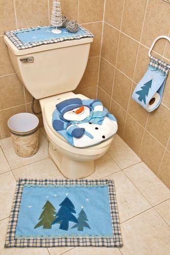 Juego de baño azul con muñeco de nieve