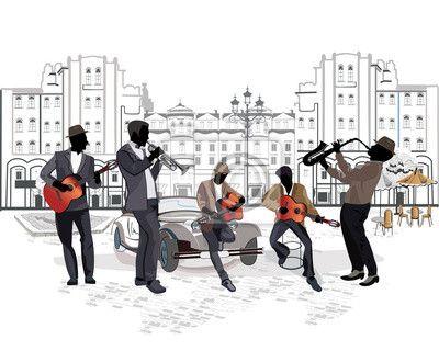 Fotomural Serie de vistas a la calle con los músicos