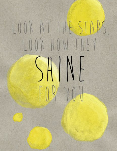 yellow by coldplay Artist : coldplay song : yellow album : parachutes / [intro] / c g f c c g f c / [verse 1] / c look at the stars g look how they shine for you f and everything you do.