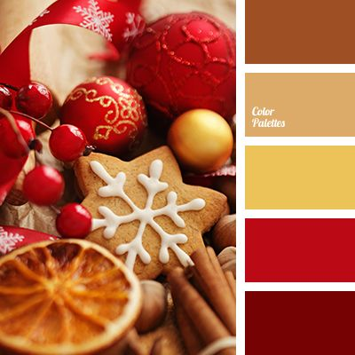 bright red, browns, christmas palette, color matching, color of cookie, color of gold, gold, house color schemes, new year color scheme, New Year colors, reds, yellow color.