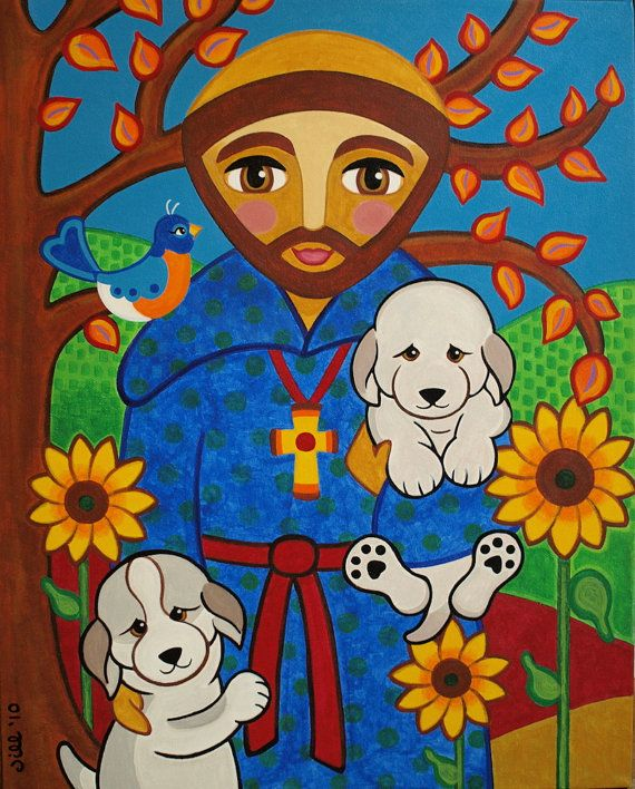 St. FRANCIS of Assisi with DOGS Puppies Folk Art PRINT from Original Painting by…