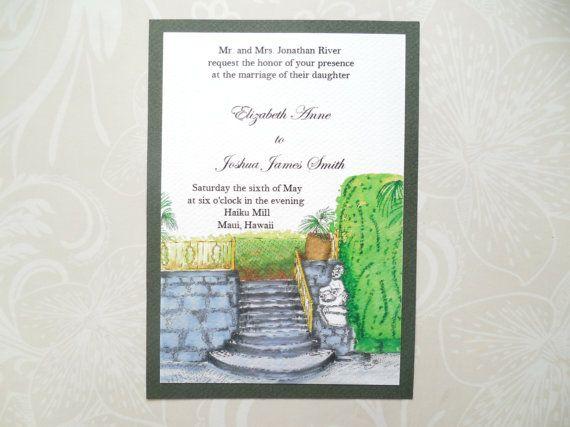 Illustrated Wedding Venue Invitation  by WatercoloredWedding