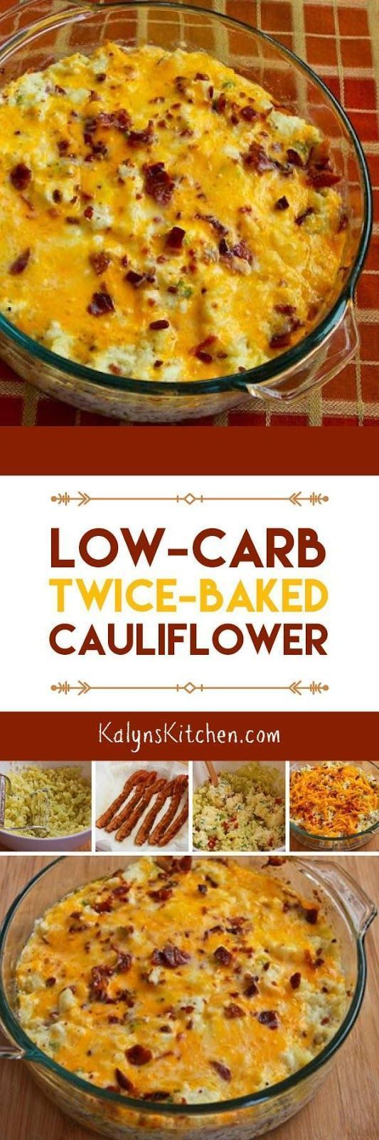 Low-Carb Twice-Baked Cauliflower has been a huge hit on the blog; that recipe has been loved by everyone who tries it! And this delicious twice-baked cauliflower is also Keto, low-glycemic, and gluten-free. [found on http://KalynsKitchen.com]