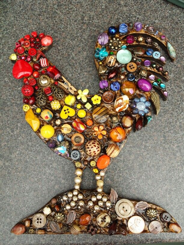 Rooster made for beads and buttons