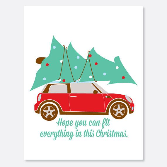 Mini Cooper Christmas Card Packed Christmas Card by uluckygirl