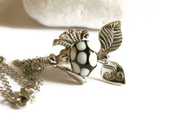 Fish Necklace with Lampwork Glass Bead Cute by GlassHouseLampwork