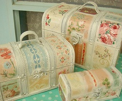 decoupaged train cases
