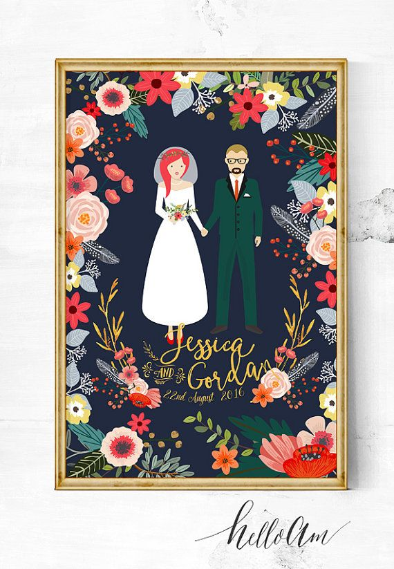 A unique wedding gift (aka) poster, featuring a custom portrait illustration couple. Each piece is easily customizable to fit your appearance. You get to choose how you'd look like. From hair colour, skin colour, hairstyle and even eye feature... etc. :::::::::::::::::::::::::::::::::::::::::::::::::::::::::::::::::::::::::::::::::::::::::::::::::::::::::::::::::::::::::::::::::: Here's how to order and custom your character illustration: After your purchase, please leave me these details...