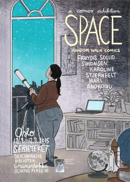 Random Walk Comics exhibition SPACE in Oslo 12.2.-12.3.2015 (Poster by Karoline Stjernfelt)