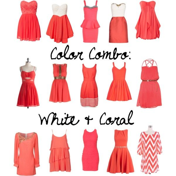Color Combo: White & Coral by selenamarie318, via Polyvore