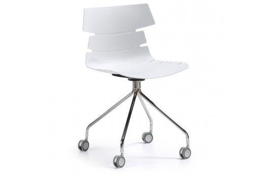 chaise de bureau delf blanche avec 4 roulettes