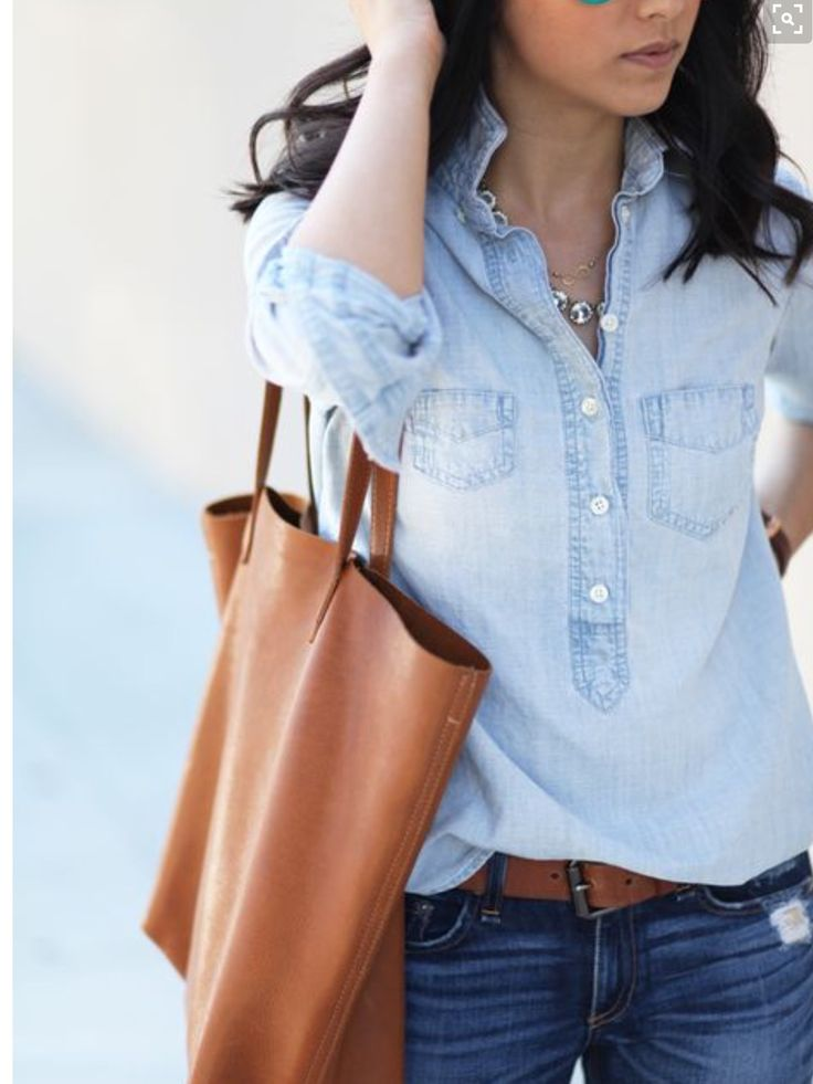 Denim on denim. Front tuck. Saddle purse and belt. Chambray shirt. Caramel colored bag. Stitch fix 2016