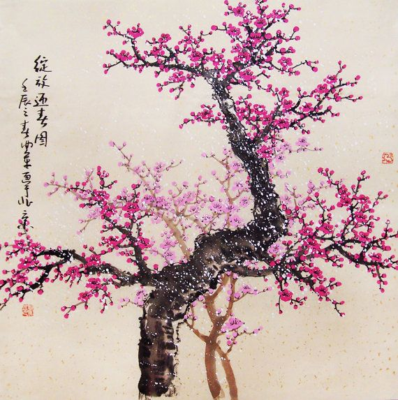 Cherry Blossom painting chinese watercolour painting original chinese art-cherry blossom tree No.47 on Etsy, $218.00