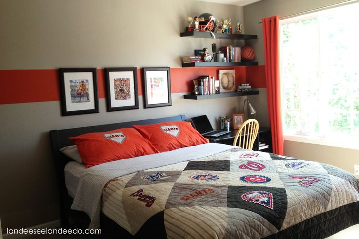 23 Smart And Cool Tween Boys Bedroom Ideas : Admirable Grey and Orange Stripe Tween Boys Bedroom Decoration with Black Painted Wood Bed Fram...
