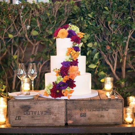 Flower Decorated Cake | Jesse Leake Photographer | Theknot.com