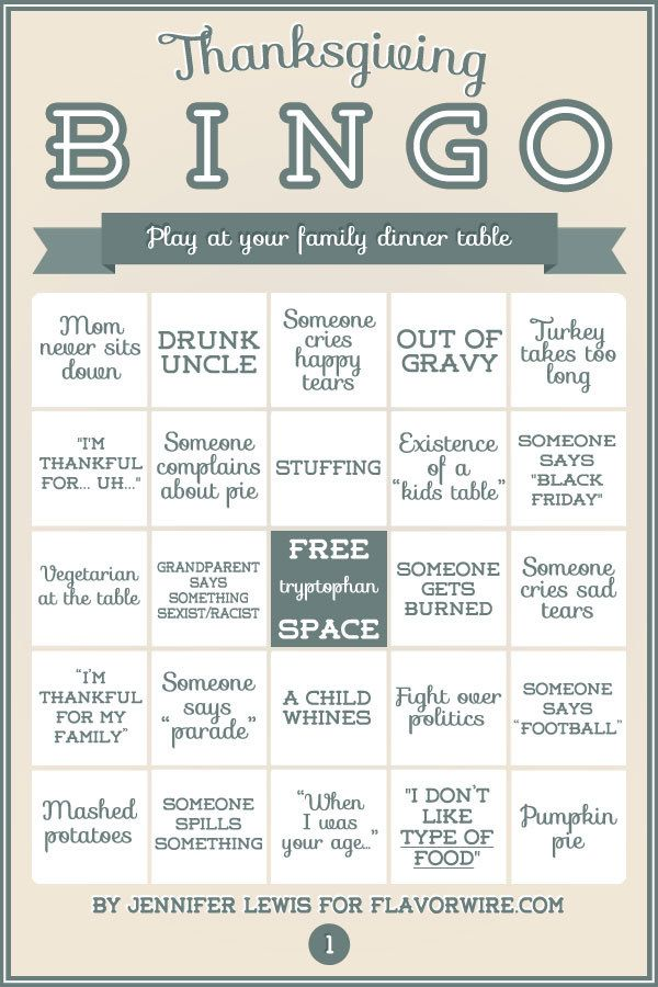 And BONUS! Print out these bingo cards for your family, then see who wins! | 19 Helpful Charts For Anyone Cooking Thanksgiving Dinner