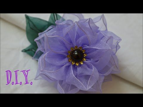 Make Red for Christmas Ornaments ❀ D.I.Y. Wired Organza Flower - Tutorial ❀ - YouTube
