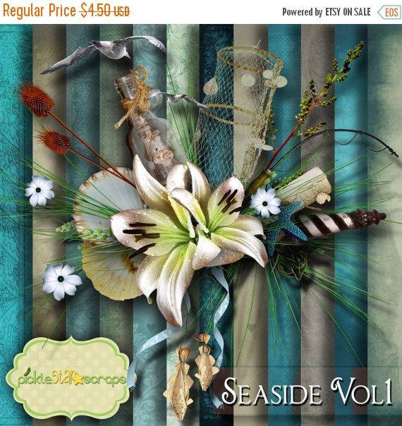 ON SALE Seaside Vol1  Digital Scrapbook Kit  by PickleStarScraps
