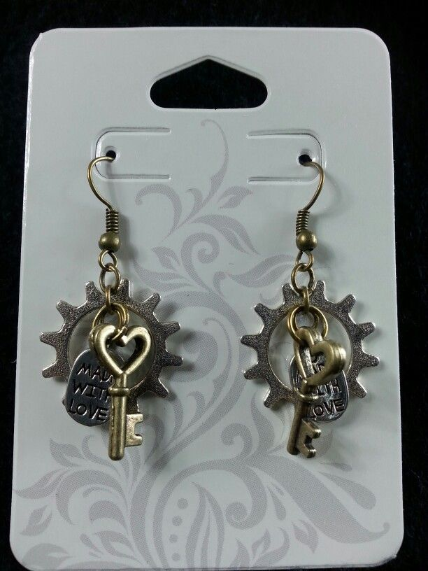 Made with love gear & key earrings (silver)