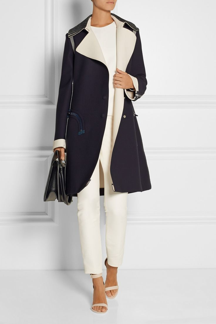 """Streamlined mood. The """"Birkhoff"""" leather-trimmed crepe coat from Resort 2015 Calvin Klein Collection."""