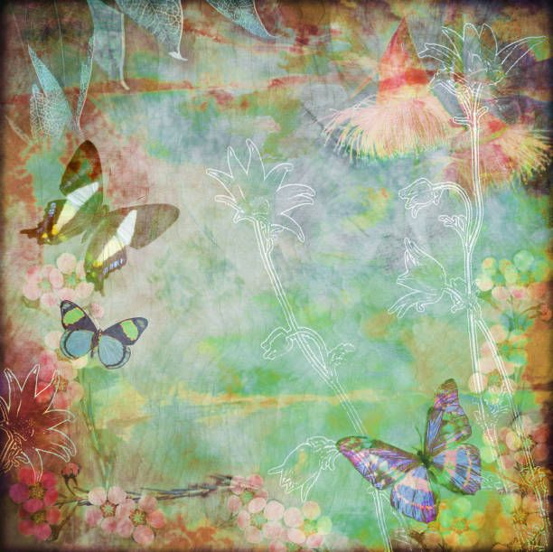 vintage floral butterfly background