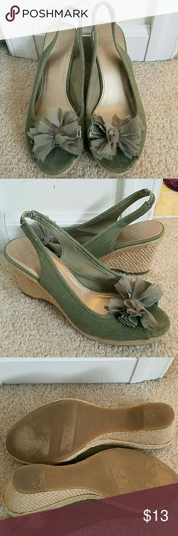 """Olive green peep toe wedges The perfect shoes for that perfect summer maxi! Olive green peep toe with a 3"""" wedge New York & Company Shoes Wedges"""