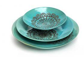 Rękodzieło :: Ceramika :: Miski i talerze :: Głęboki talerz patera Seria Turkusowe koronki