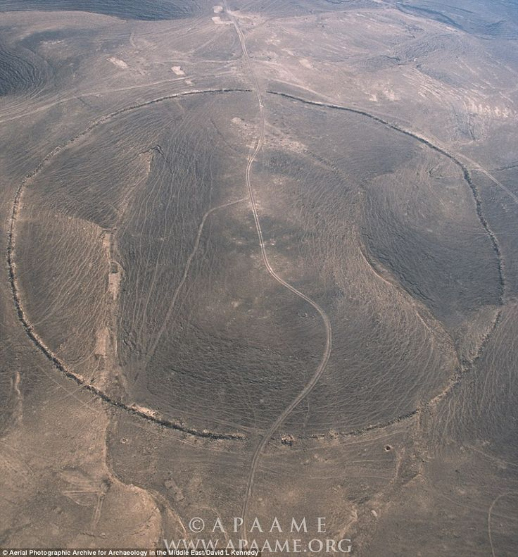 Mystery of Jordan's Big Circles :'The landscape of the Middle East is thickly strewn with circular or sub-circular stone-built structures', explained lead researcher Professor David Kennedy from the University of Western Australia. Circle J2 is pictured. Known as Sirat Umm el-Hayan, this circle is located 3 miles (5km) west of the Hedjaz Railway. It features a wall built from local field stone