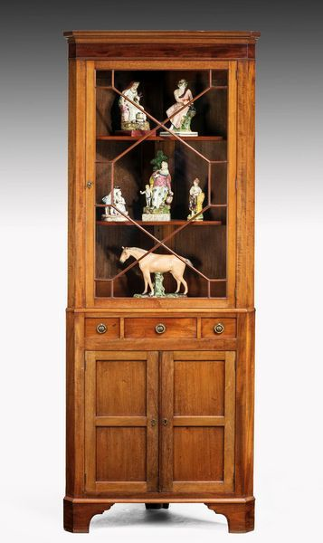 Late 19th Century Mahogany Two Section Double Corner Cupboard The Top Gl