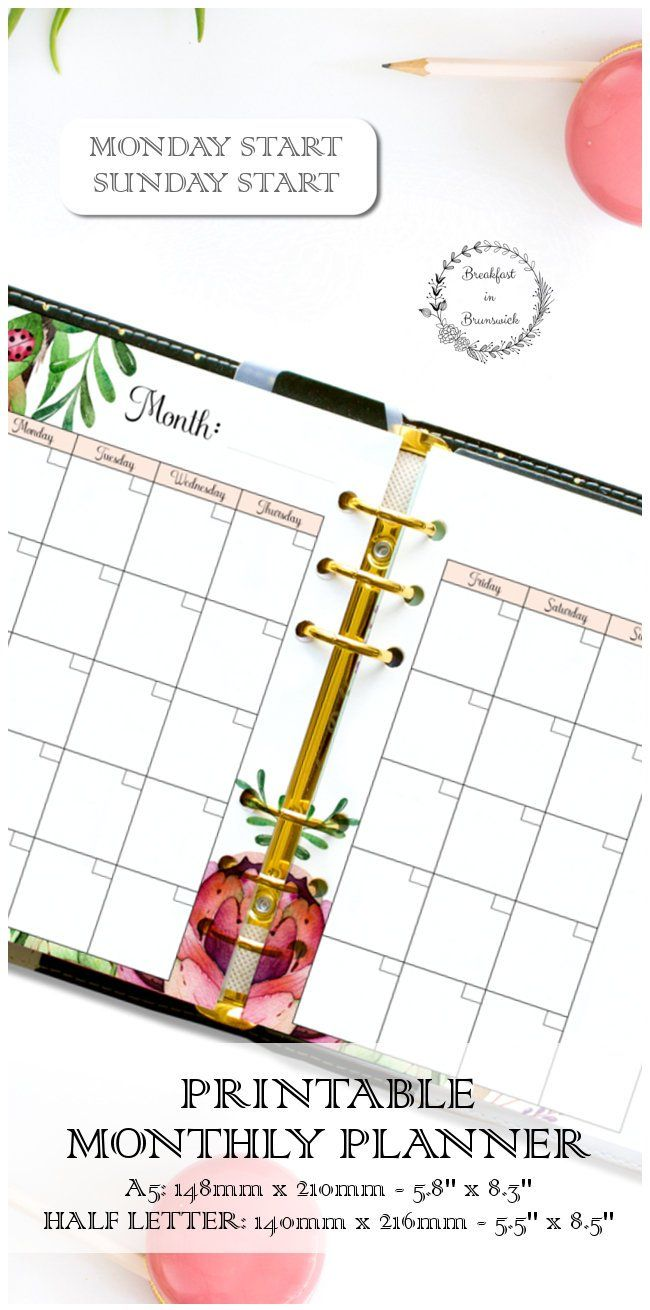 printable undated month on 2 pages a5 monthly planner agenda