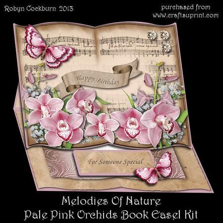 "Melodies of Nature Pastel Pink Orchids Book Easel Kit on Craftsuprint designed by Robyn Cockburn - An open book of sheet music with gorgeous layers of flowers and butterflies. Greeting labels are supplied for a variety of occasions. Card is approx. 8"" x 6.1"" when folded flat.Kit includes- card front- insert- base- stopper plates and greeting labels- decoupage layers- matching envelope- step by step photographic instructions - Now available for download!"
