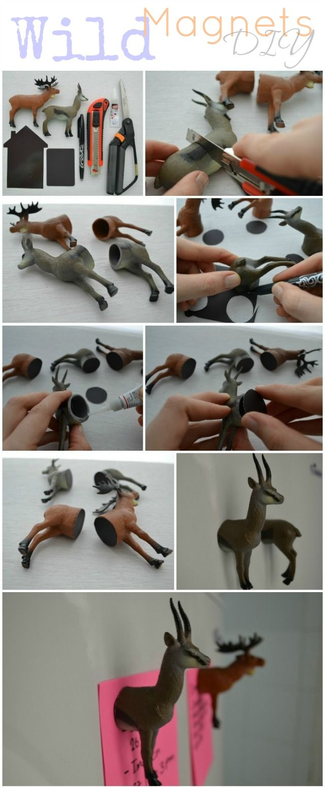 DIY: Wild Animal Magnets. I would like to try this with rubber ducks and my little ponies.