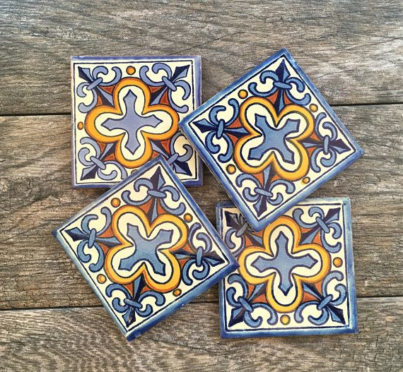 Mexican Tiles Have Been Lovingly Turned Into Beautiful Coasters For Your Home These Are Authentic