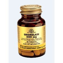 SOLGAR Bromelain 500mg : 30 Tablets, Αντιφλεγμον.-αθλ.τραυματ.-διάσπαση πρωτεϊνών.  Φυσικό πεπτικό ένζυμο προερχόμενο από φρέσκο ανανά, διασπά τις πρωτεΐνες. Η βρομελίνη είναι ένας από τους ισχυρότερους φυσικούς αντιφλεγμονώδεις παράγοντες και γι'αυτό το λόγο μπορεί να χρησιμοποιηθεί σε πολλές φλεγμονώδεις καταστάσεις όπως αρθρίτιδα και αθλητικούς τραυματισμούς. Διάφορες έρευνες υποστηρίζουν ότι η χρήση της μπορεί να μειώσει τον κίνδυνο για έμφραγμα και καρδιακή προσβολή. Σε ταμπλέτες.