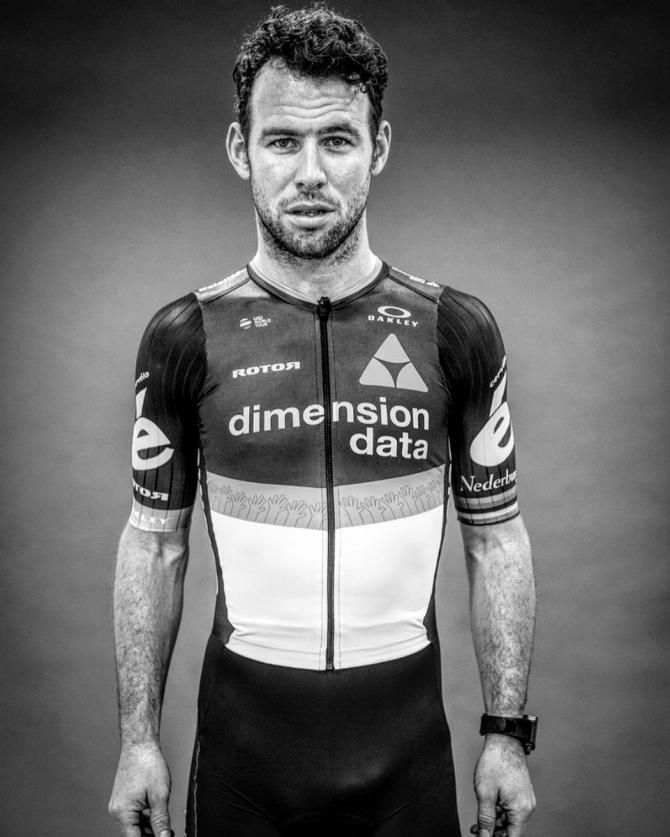 Mark Cavendish modelling the 2017 Dimension Data kit