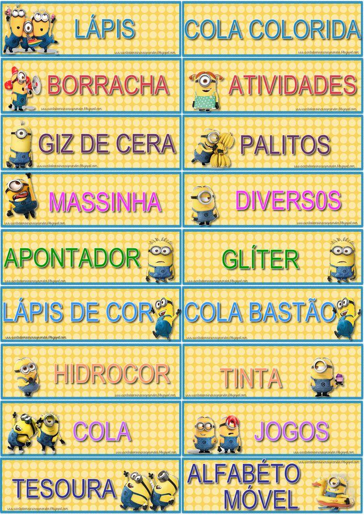 Fiz etiquetas para organizar o material escolar no armário http://aartedeensinareaprender.blogspot.com.br/2014/01/etiquetas-organizadoras-dos-minions.html