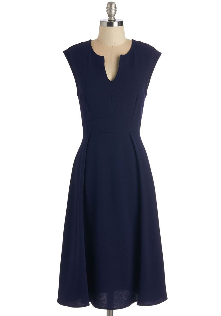 Job Swell Done Dress. After a successful presentation to the board, youre celebrating with coworkers in this navy-blue dress! #blue #modcloth
