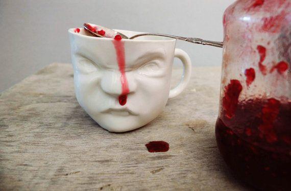 Porcelain Cup  Baby Face / Ceramics and door SCULPTUREinDESIGN, $20.00