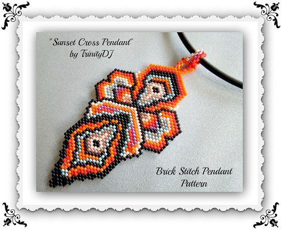 BP-PEN-001  Sunset Cross Pendant  Brick stitch par TrinityDJ