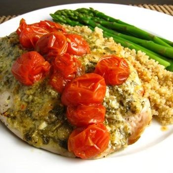 Tilapia With Pesto And Roasted Tomatoes