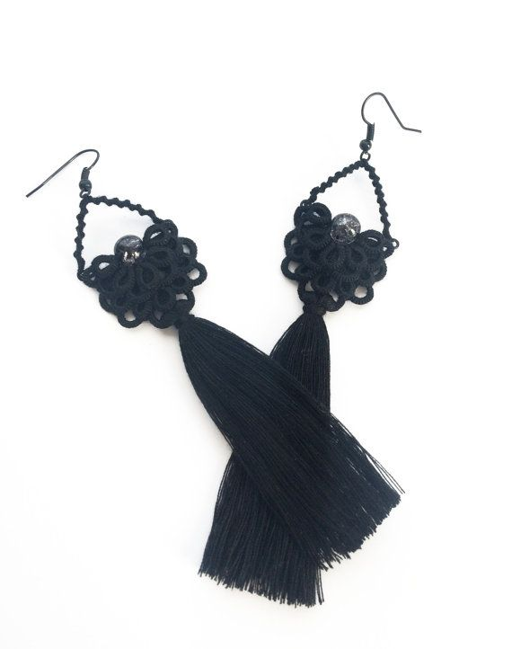 Bohemian statement earrings with tassel in black. These lace earrings was carefully created with a tatting technique from cotton thread and decorated