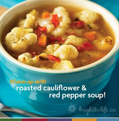 Pepper soup, Red pepper soup and Roasted cauliflower on Pinterest