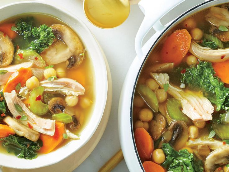 Immunity Soup - Cooking Light - This easy soup is full of immunity-boosting foods: vitamin C–rich kale, vitamin D–enhanced mushrooms, zinc-containing chicken and chickpeas, and antioxidant-packed garlic.