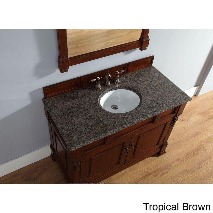James Martin Furniture 48-Inch Brookfield Warm Cherry Single Drawer Vanity (48 Brookfield Cherry Vanity - Tropical Brown Top), Black, Size Single Vanities