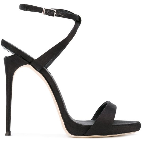 Giuseppe Zanotti Design Dionne 12 cut-out heel sandals (13 085 ZAR) ❤ liked on Polyvore featuring shoes, sandals, black, leather sole shoes, leather sandals, black stilettos, black high heel shoes and leather strap sandals