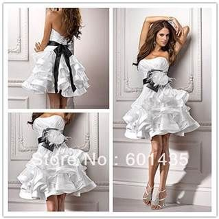 Black and white short wedding dress. I think so... A perfect biker dress for a biker chick for a biker wedding. I would defiantly need a short wedding dress to be able to get on a motorcycle! <3 being OL' Lady