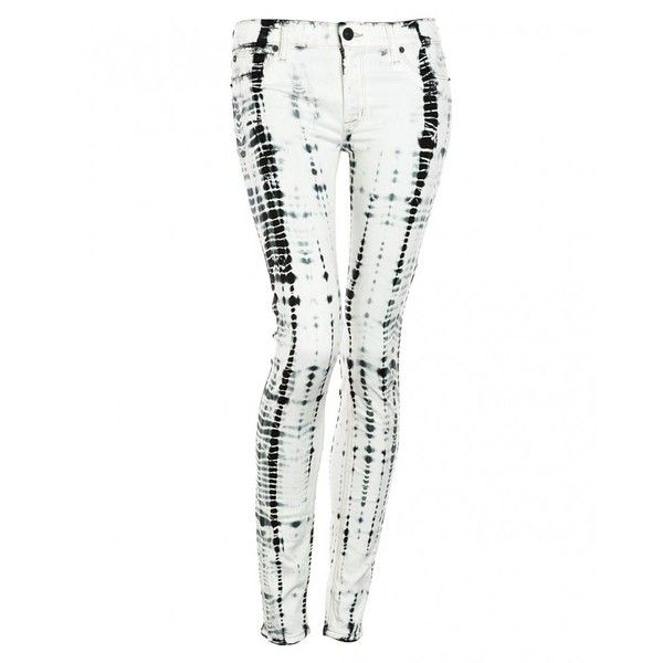 Hudson Jeans Black And White Illusions Super Skinny 'Krista' Jean ($255) ❤ liked on Polyvore featuring jeans, pants, bottoms, jeans/pants, skinny fit jeans, light weight jeans, slim skinny jeans, zipper skinny jeans and lightweight jeans
