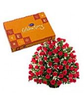 Years of Togetherness:   Stage a spectacular way to celebrate your treasured moments with this bouquet of 100 ravishing #roses and #Cadbury's celebration pack from FlowerznCakez, #India at reasonable price...