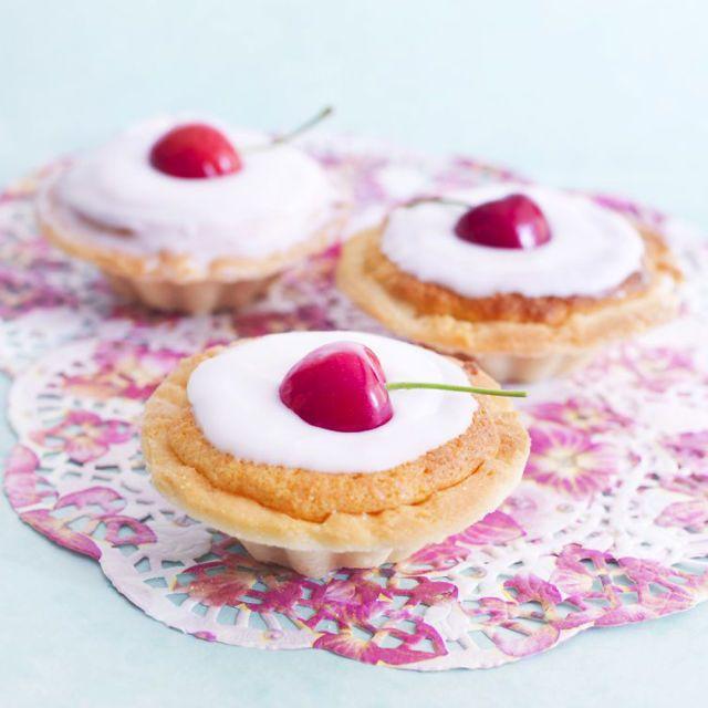 Cherry bakewell tarts recipe prima.co.uk